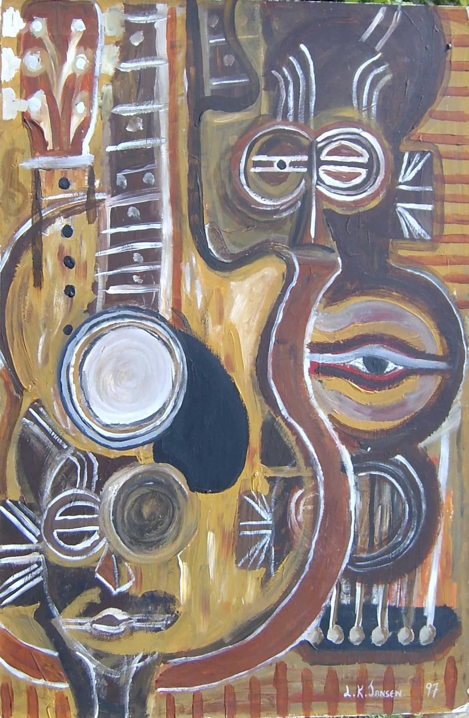 Guitar and Mask. acrylic on card. 90x60cm.1997.1500ppi.4web